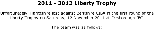 2011 - 2012 Liberty Trophy  Unfortunately, Hampshire lost against Berkshire CIBA in the first round of the Liberty Trophy on Saturday, 12 November 2011 at Desborough IBC.  The team was as follows: